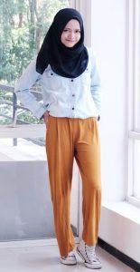 Tesettürlü Üniversiteli Portakal Pantolon Modeli