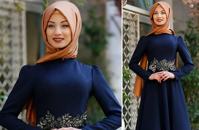 Yaldızlı Çiçek Desenli Lacivert Elbisenin Üstüne Hangi Renk Şal Gider