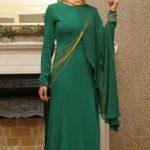 Yeşil Sade Mislina Abiye Modeli