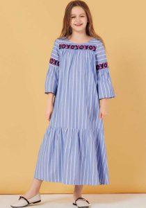 12-13 Yaş Mavi Çizgili Elbise Modeli