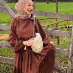 Betül Yıldırım Kahverengi Tesettür Elbise