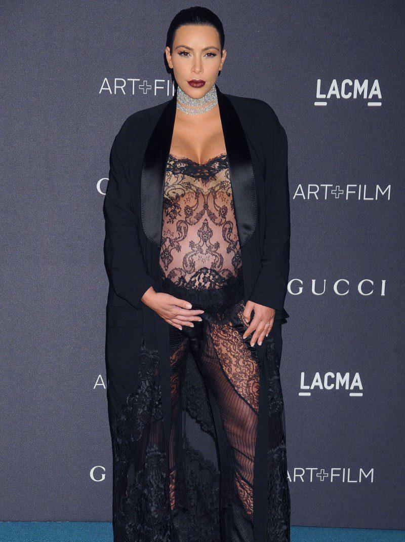 Kim KardashianTransparan Hamile Abiye Modeli