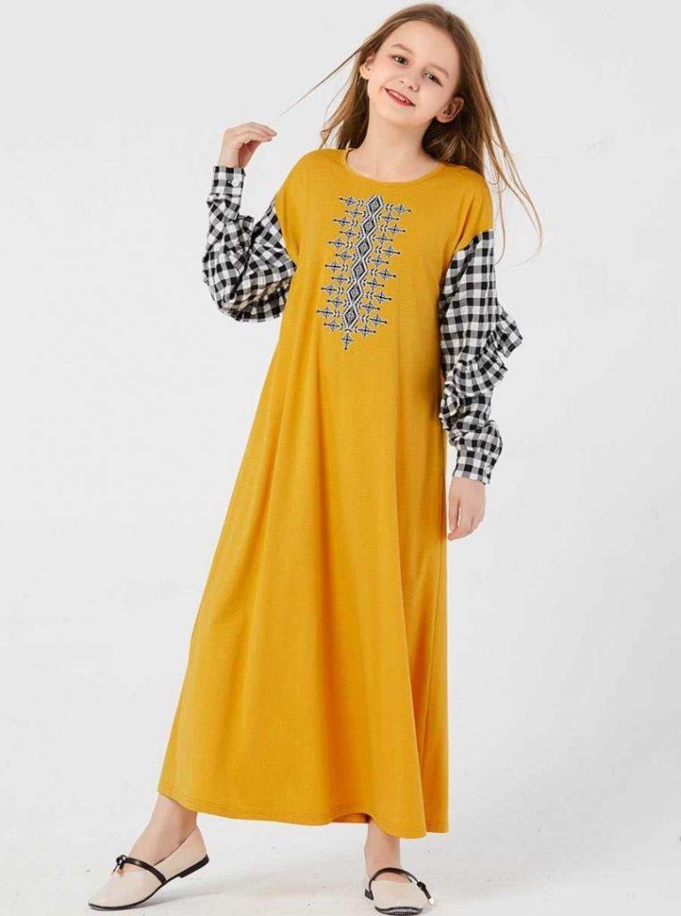 Sarı 12-13 Yaş Tesettür Elbise Modeli