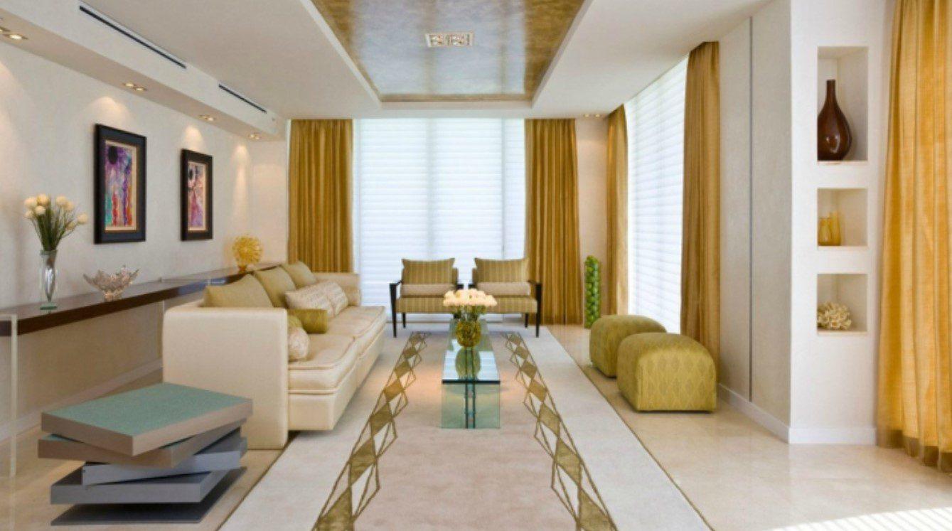 Beyaz Altın Sarısı Dikdörtgen Salon Dekorasyonu