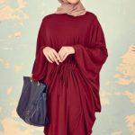 bayramlık bordo elbise