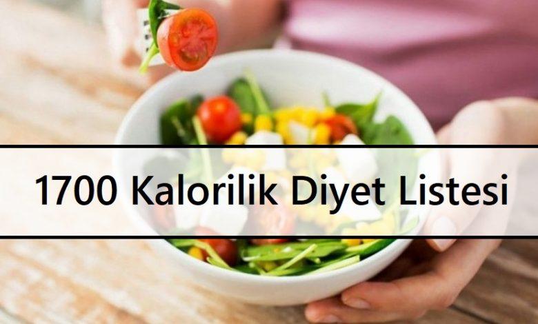 1700 Kalorilik Diyet Listesi