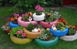 Bahçe Dekorasyon Renkli Lastik Saksı