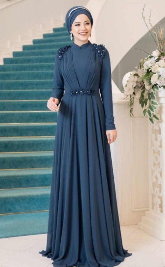 Evde Nişan Tesettür Fırfırlı Elbise