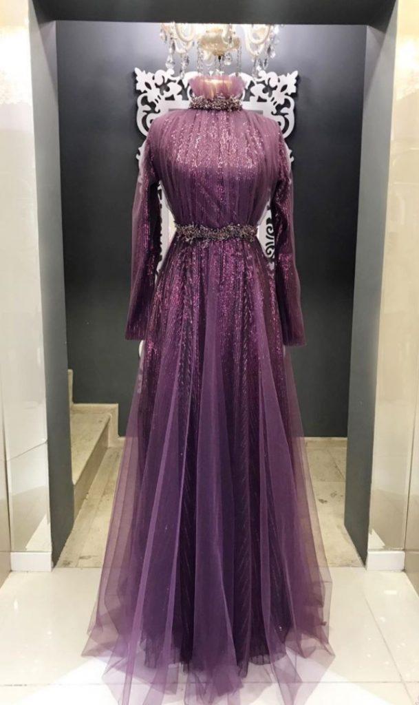 Evde Nişan için Tesettür Elbise