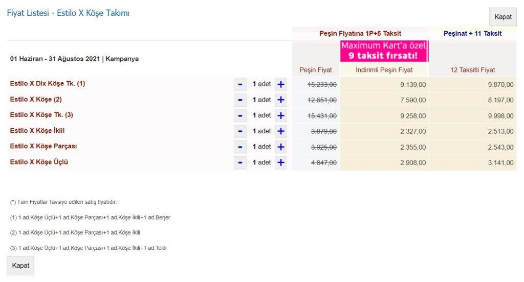 Fiyat Listesi - Estilo X Köşe Takımı