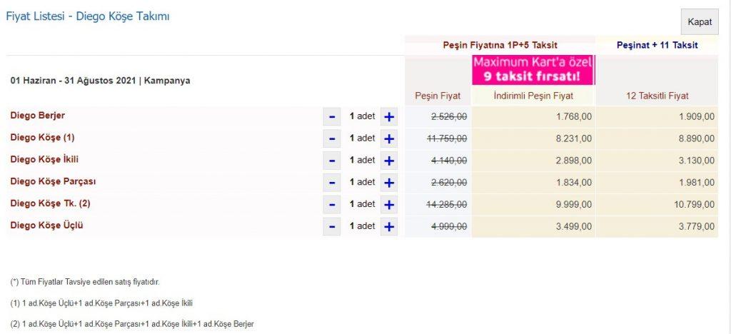 İstikbal Diego Köşe Takımı Fiyat Listesi