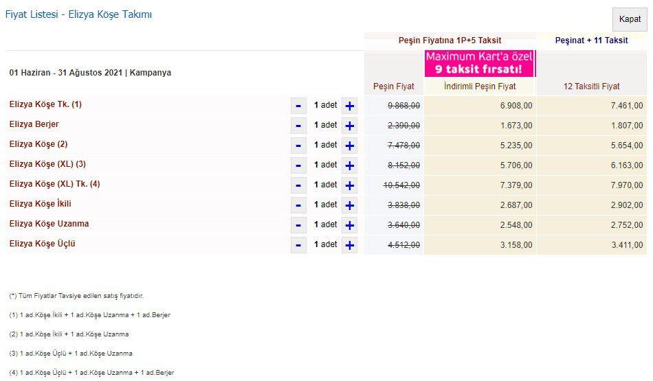 İstikbal Elizya Köşe Takımı Fiyatları