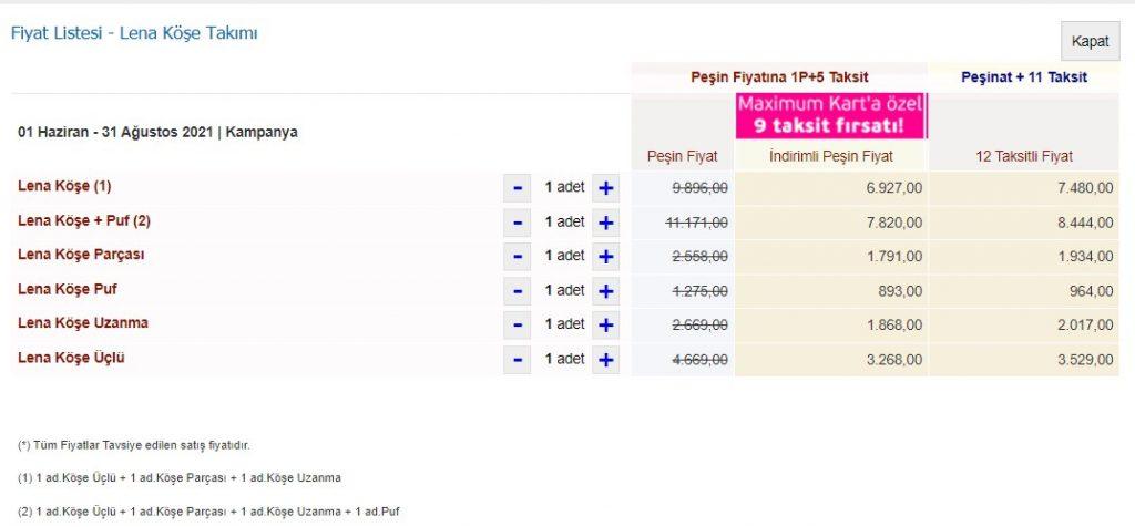 İstikbal Lena Köşe Takımı Fiyat Listesi
