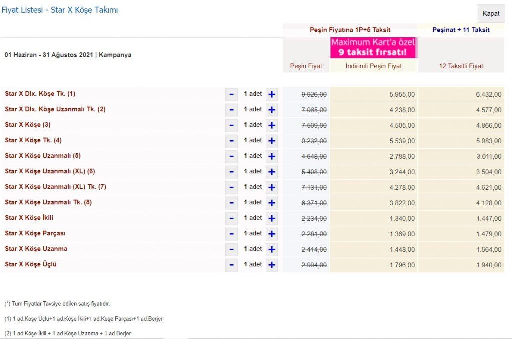 İstikbal Star X Takımı Fiyat Listesi