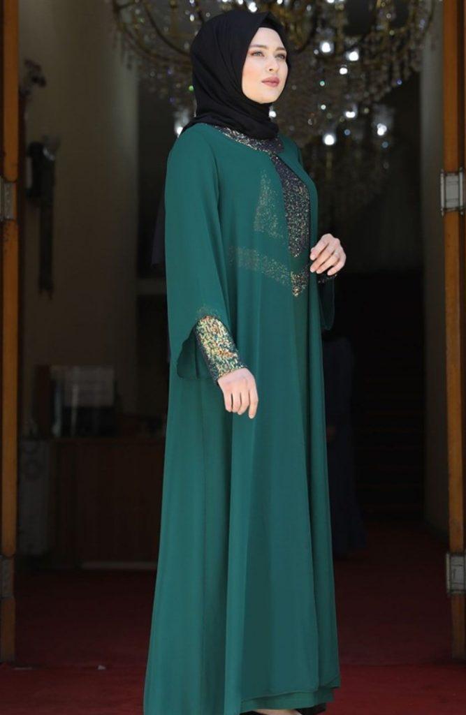 Zümrüt Yeşili Kol Detaylı Tesettür Elbise