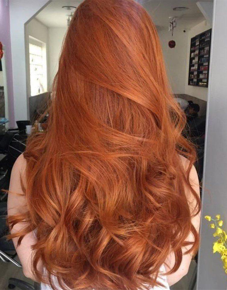 Uzun Saça Tarçın Bakırı Saç Rengi