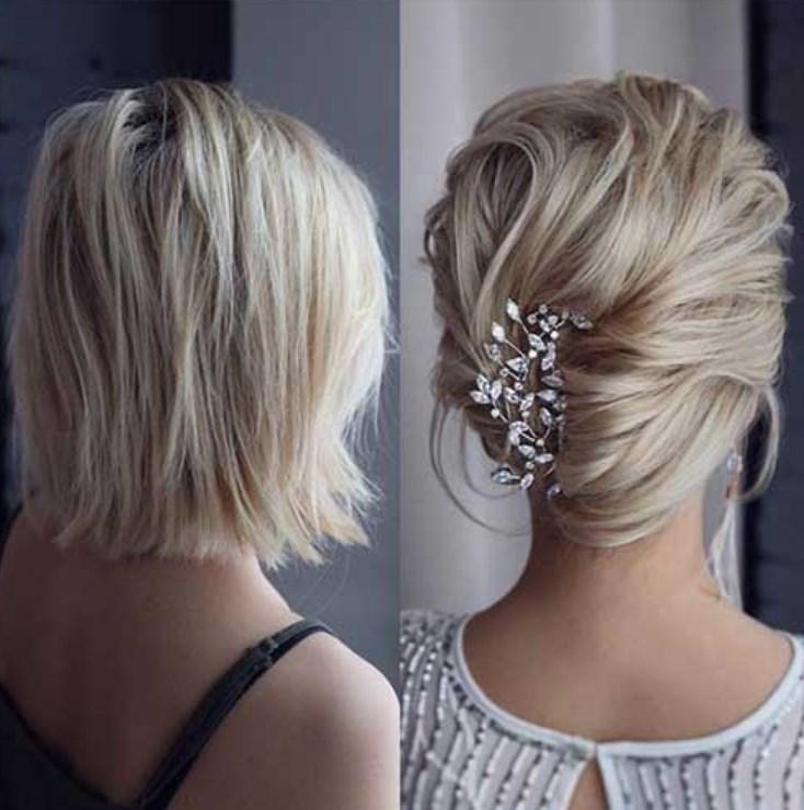 Kısa Saçlar için Abiye Üstü Saç Modeli